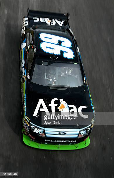 Carl Edwards drives the Aflac Ford during practice for the NASCAR Sprint Cup Series Shelby 427 at the Las Vegas Motor Speedway on February 28 2009 in...