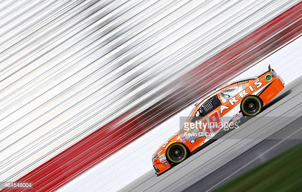 Carl Edwards drives the Arris Toyota during a testing session at Atlanta Motor Speedway on February 26 2015 in Hampton Georgia