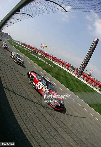 Carl Edwards drives the Office Depot Ford during the NASCAR Nextel Cup Auto Club 500 on February 27 2005 at California Speedway in Fontana California