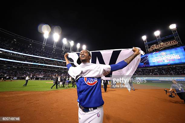 Carl Edwards Jr #6 of the Chicago Cubs celebrates after defeating the Cleveland Indians 87 in Game Seven of the 2016 World Series at Progressive...