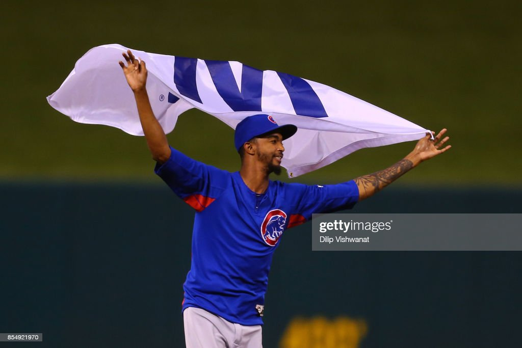 Carl Edwards Jr. #6 of the Chicago Cubs celebrates after winning the National League Central title against the St. Louis Cardinals at Busch Stadium on September 27, 2017 in St. Louis, Missouri.