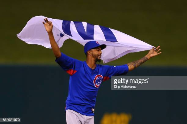 Carl Edwards Jr #6 of the Chicago Cubs celebrates after winning the National League Central title against the St Louis Cardinals at Busch Stadium on...