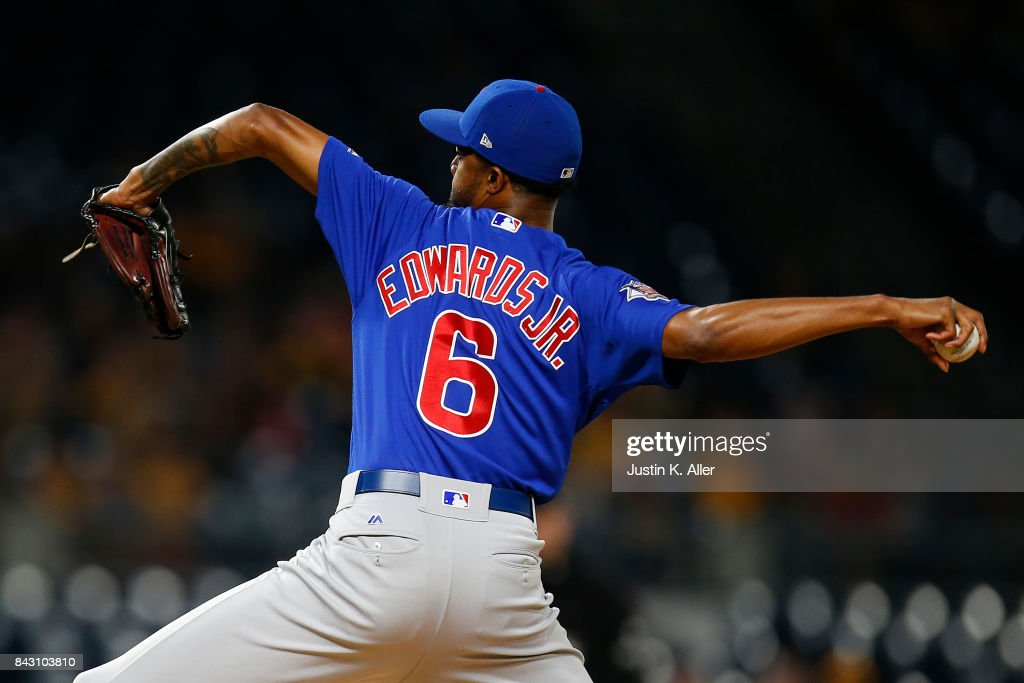 Carl Edwards Jr. #6 of the Chicago Cubs pitches in the eighth inning against the Pittsburgh Pirates at PNC Park on September 5, 2017 in Pittsburgh, Pennsylvania.