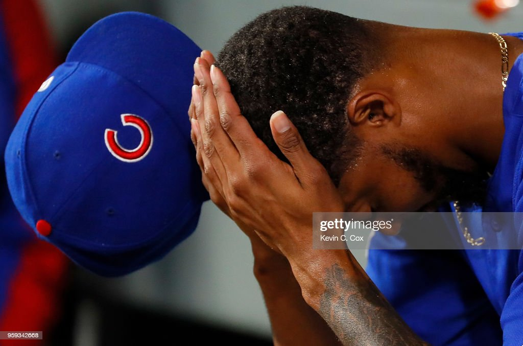 Carl Edwards Jr. #6 of the Chicago Cubs reacts after being pulled in the eighth inning against the Atlanta Braves at SunTrust Park on May 16, 2018 in Atlanta, Georgia.