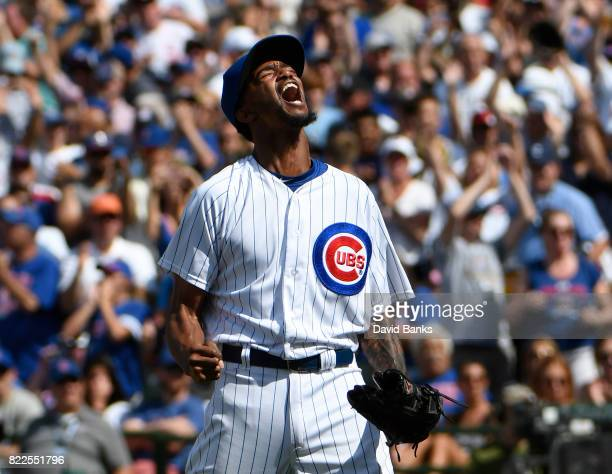 Carl Edwards Jr #6 of the Chicago Cubs reacts after striking out Jose Abreu of the Chicago White Sox to end the sixth inning on July 25 2017 at...