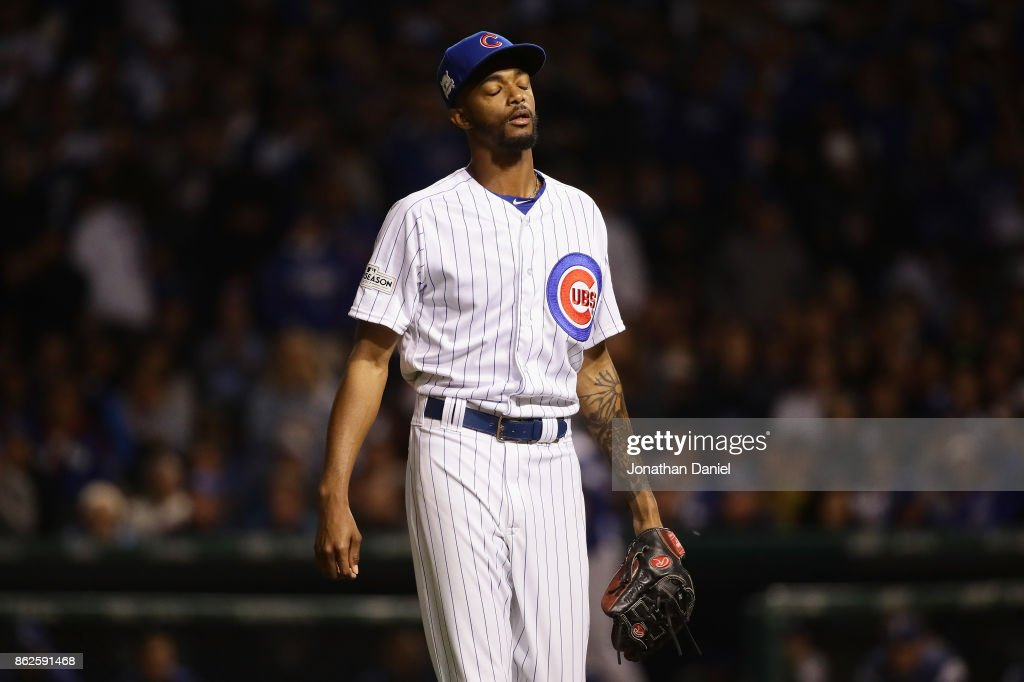 Carl Edwards Jr. #6 of the Chicago Cubs reacts as he walks off the field in the sixth inning against the Los Angeles Dodgers during game three of the National League Championship Series at Wrigley Field on October 17, 2017 in Chicago, Illinois.