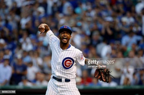 Carl Edwards Jr #6 of the Chicago Cubs reacts in the eighth inning against the Washington Nationals during game three of the National League Division...