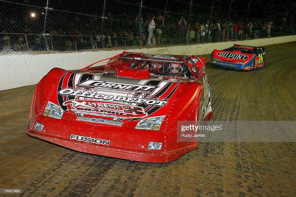 Carl Edwards #99 leads Jeff Gordon #24 on the pace lap prior to the start of the Nextel Prelude to the Dream on June 6, 2007 at Eldora Speedway in New Weston, Ohio.