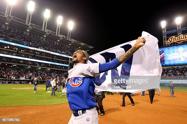 Carl Edwards of the Chicago Cubs celebrates on the field with his teammates after defeating the Cleveland Indians in Game 7 of the 2016 World Series...