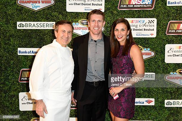 Carl Edwards poses with his wife Kate and Chef Daniel Boulud during the NASCAR Evening Series presented by Bank of America at db Brasserie at The...