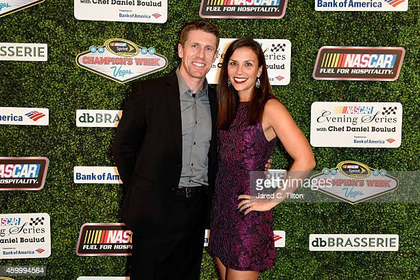 Carl Edwards poses with his wife Kate during the NASCAR Evening Series with Chef Daniel Boulud presented by Bank of America at db Brasserie at The...