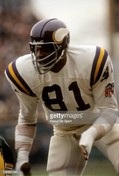 Carl Eller of the Minnesota Vikings is down and ready for action against the Green Bay Packers during an NFL football game November 16 1969 at...