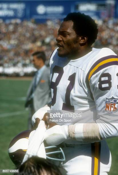 Carl Eller of the Minnesota Vikings looks on during an NFL football game circa 1969 Eller played for the Vikings 196478