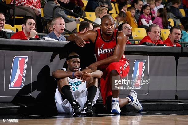 Carl Elliott of the Sioux Falls Skyforce and Alton Ford of the Rio Grande Valley Vipers waits to enter the game during day 3 of the DLeague Showcase...