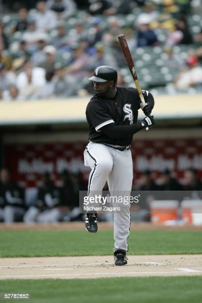 Carl Everett of the Chicago White Sox hits during the game against the Oakland Athletics at McAfee Coliseum on April 27, 2005 in Oakland, California....
