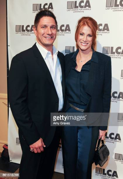 Carl Ferro and Angie Everhart attend the Last Chance For Animals 33rd Annual Celebrity Benefit Gala Arrivals at The Beverly Hilton Hotel on October...