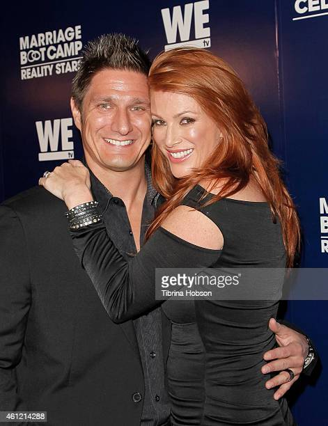 Carl Ferro and Angie Everhart attend WE TV's 'Marriage Boot Camp' reality stars & 'David Tutera's Celebrations' premiere party at 1 OAK on January 8,...