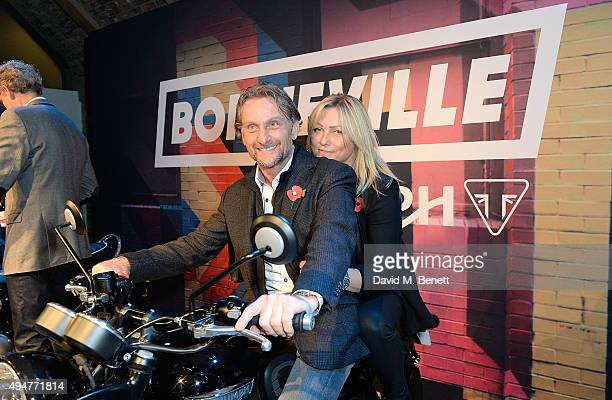Carl Fogarty and guest attend the Global Triumph Bonneville launch on October 28 2015 in London England