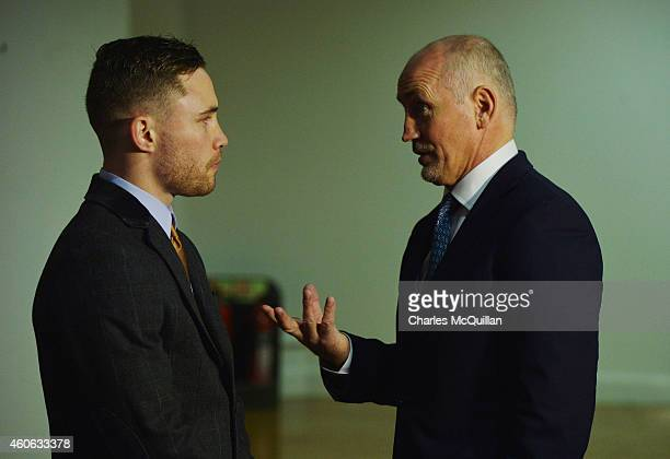 Carl Frampton and his manager Barry McGuigan in conversation before the press conference to announce the IBF World Super Bantamweight Championship...