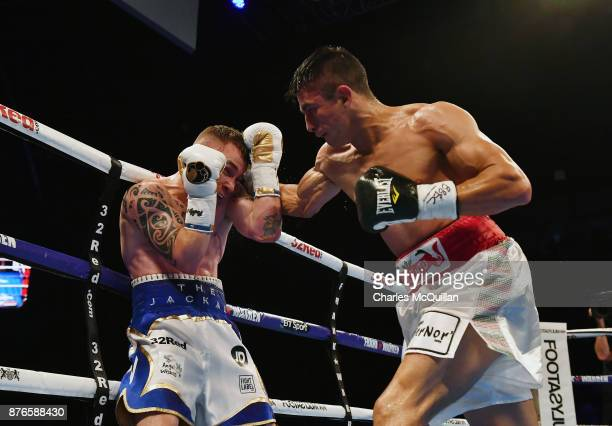 Carl Frampton and Horacio Garcia during their International Featherweight bout on the Frampton Reborn boxing bill at SSE Arena Belfast on November 11...