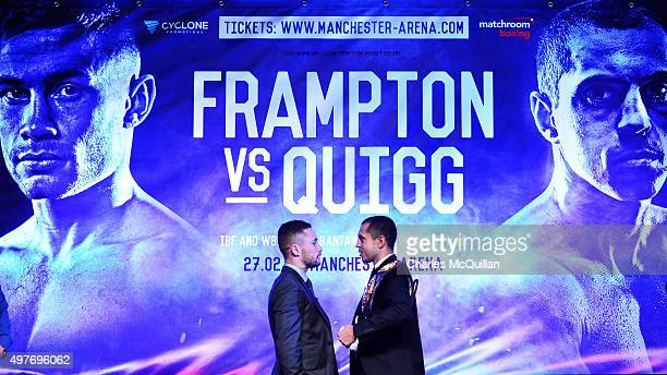 Carl Frampton and Scott Quigg exchange heated words during the WBA and IBF superbantamweight world title unification prefight press conference at...