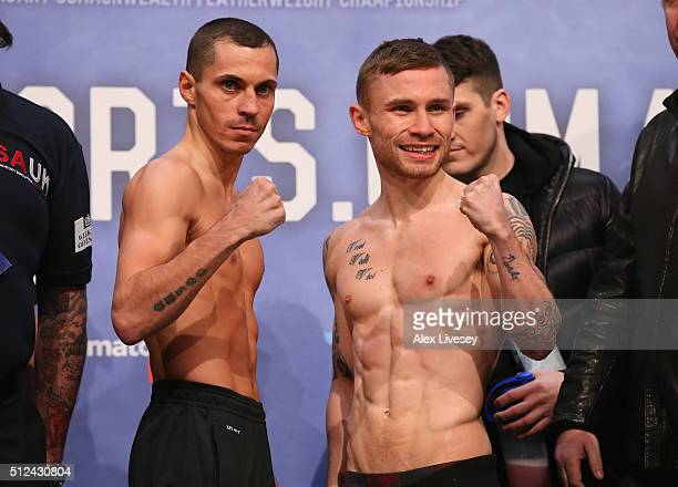 Carl Frampton and Scott Quigg go face to face at the weighin ahead of their SuperBantamweight fight at the at Manchester Arena on February 26 2016 in...