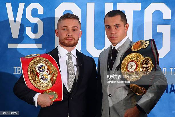 Carl Frampton and Scott Quigg go headtohead during a press conference at the Park Plaza Riverbank on November 16 2015 in London England