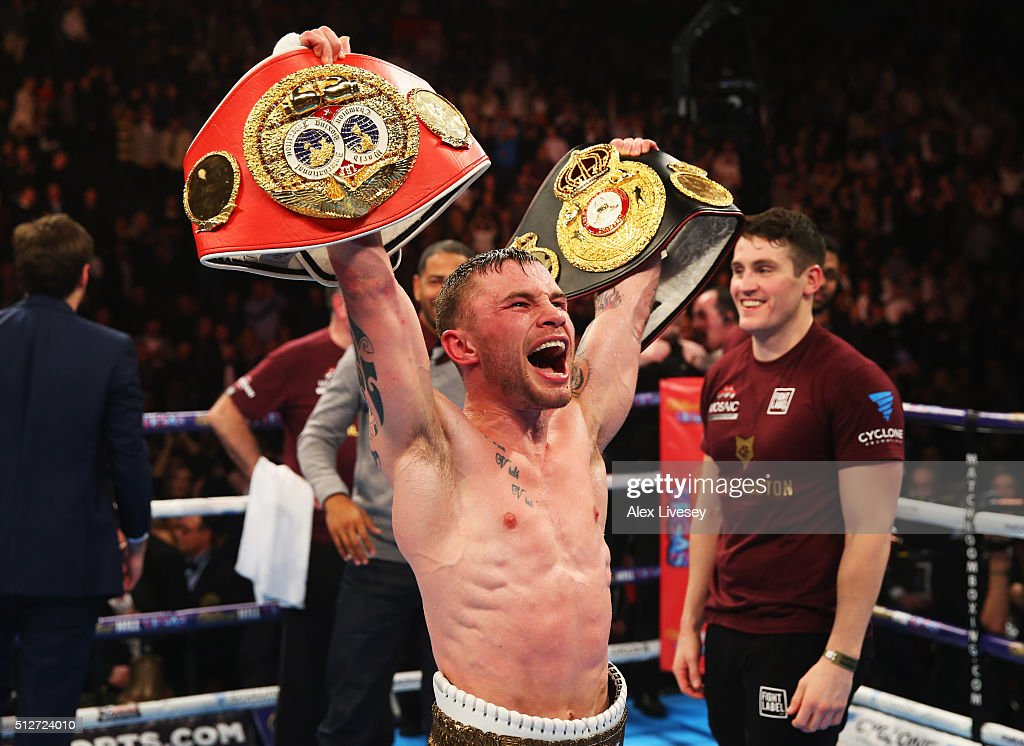 Carl Frampton celebrates a points victory over Scott Quigg after their World Super-Bantamweight title contest at Manchester Arena on February 27, 2016 in Manchester, England. Frampton's victory united the WBA and IBF titles.