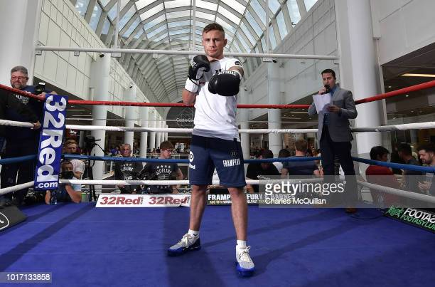 Carl Frampton during an open public workout at Castle Court on August 15 2018 in Belfast Northern Ireland The Carl Frampton boxing bill also...