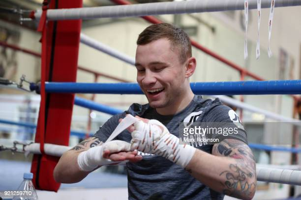 Carl Frampton is all smiles as he prepares for a work out session at the VIP Boxing Gym on February 20 2018 in Manchester England