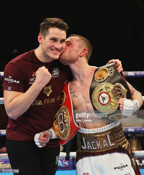 Carl Frampton kisses trainer Shane McGuigan in celebration after a points victory over Scott Quigg after the World SuperBantamweight title contest at...