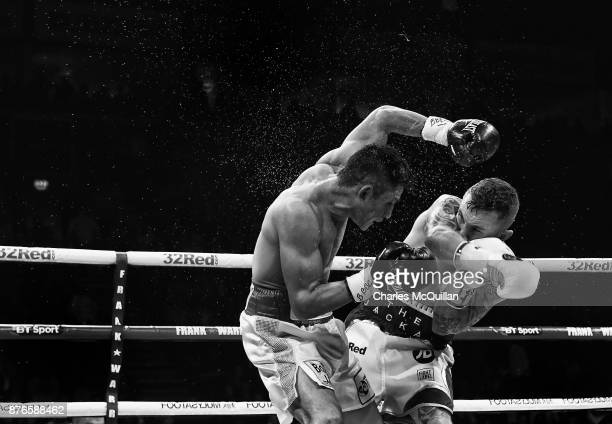 Carl Frampton lands a punch on Horacio Garcia during their International Featherweight bout on the Frampton Reborn boxing bill at SSE Arena Belfast...