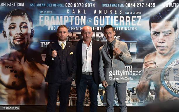 Carl Frampton Northern Ireland and Andres Gutierrez Mexico pose with Barry McGuigan for photographers during their final pre fight press conference...
