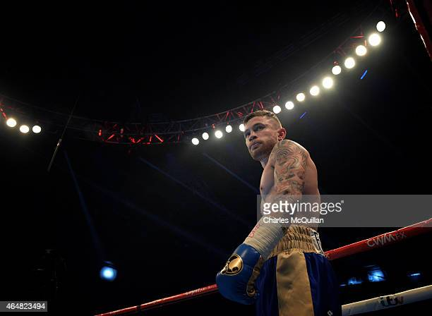 Carl Frampton of Northern Ireland during his bout with Chris Avalos of USA for the IBF Super Bantamweight World Title at Odyssey Arena on February 28...