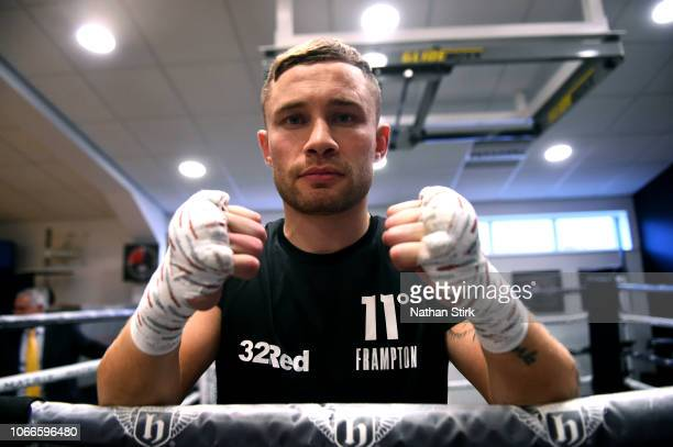 Carl Frampton poses for a photograph during a media workout at Hatton Health Fitness at on November 12 2018 in Hyde England