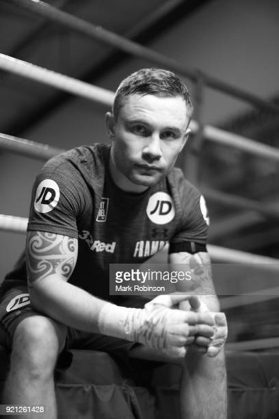 Carl Frampton poses for a portrait ahead of a media work out session at on February 20 2018 in Manchester England
