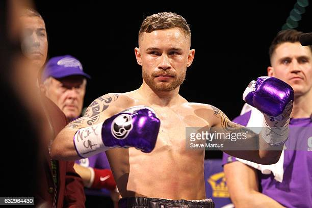 Carl Frampton prepares for the start of his WBA featherweight title fight against Leo Santa Cruz at MGM Grand Garden Arena on January 28 2017 in Las...