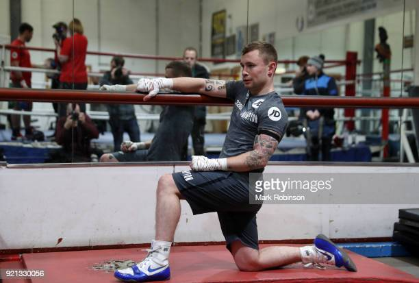 Carl Frampton stretches during a media work out session at VIP Boxing Gym on February 20 2018 in Manchester England