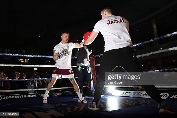 Carl Frampton takes part in a public work out at Intu Trafford Centre on February 23 2016 in Manchester England