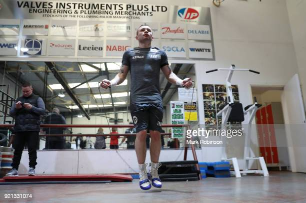 Carl Frampton works out during a media work out session at VIP Boxing Gym on February 20 2018 in Manchester England