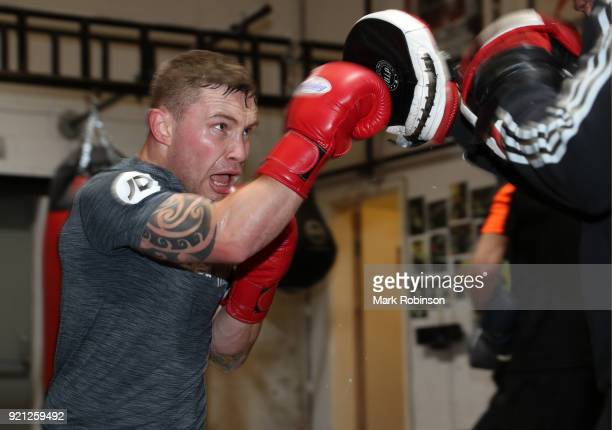 Carl Frampton works out on the pads during a media work out session at the VIP Boxing Gym on February 20 2018 in Manchester England