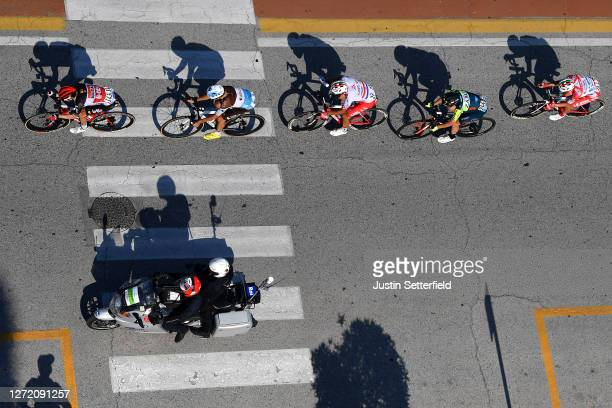 Carl Fredrik Hagen of Norway and Team Lotto Soudal / Axel Domont of France and Team AG2R La Mondiale / Josip Rumac of Croatia and Team Androni...