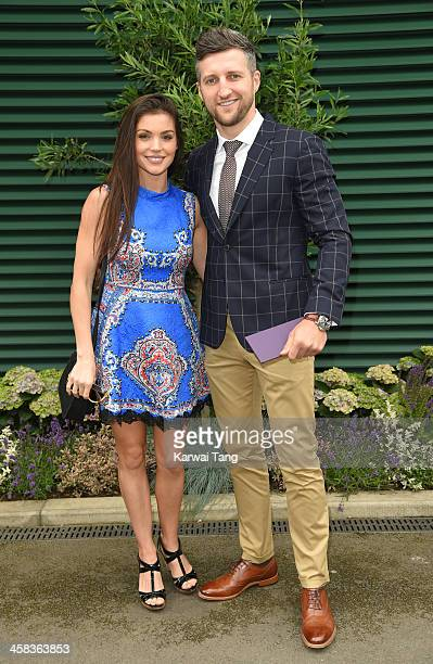 Carl Froch and Rachael Cordingley attend day six of the Wimbledon Tennis Championships at Wimbledon on July 02 2016 in London England