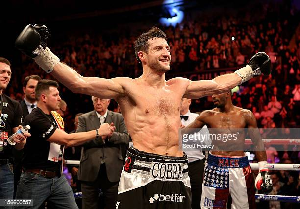 Carl Froch celebrates after beating Yusaf Mack during their IBF World Super Middleweight Title Fight at Nottingham Capital FM Arena on November 17,...
