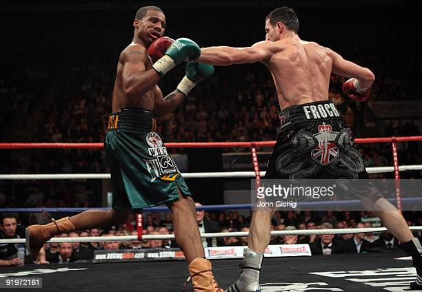 Carl Froch connects with a left hook as he retains his title against Andre Dirrell during their WBC Super Middleweight fight on October 17 2009 at...