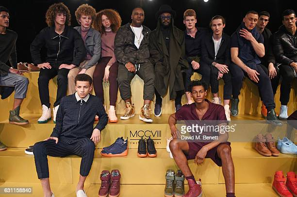 Carl Gilliam and william pose with models at the MCCVIII presentation during London Fashion Week Men's January 2017 collections at Institute Of...