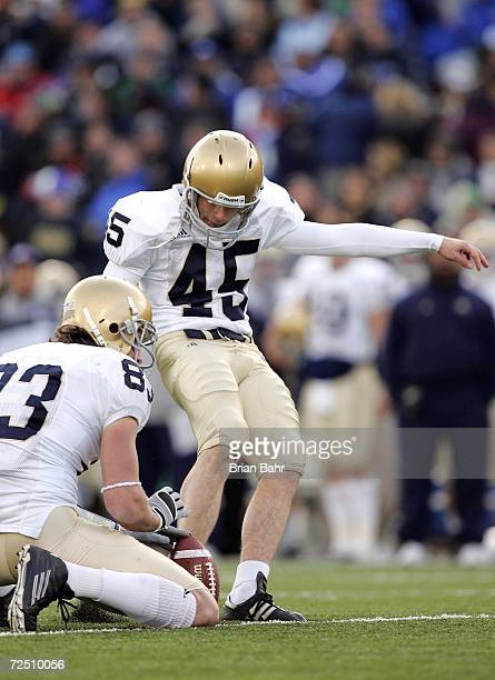 Carl Gioia of the Notre Dame Fighting Irish attempts to make a kick against the Air Force Falcons in the third quarter on November 11 2006 at Falcon...