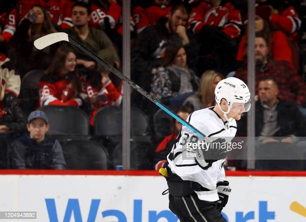Carl Grundstrom of the Los Angeles Kings reacts late in the third period against the New Jersey Devils at Prudential Center on February 08 2020 in...
