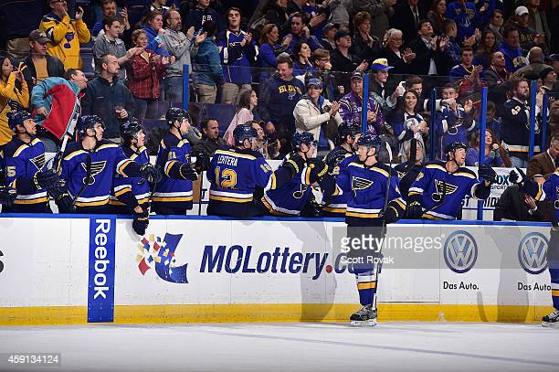 Carl Gunnarsson of the St Louis Blues celebrates after scoring a goal against the Nashville Predators on November 13 2014 at Scottrade Center in St...
