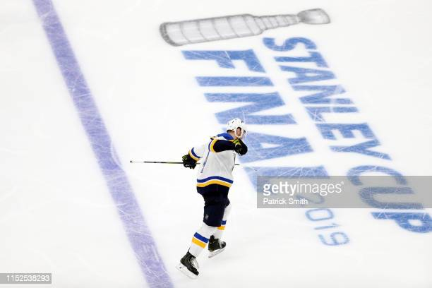 Carl Gunnarsson of the St Louis Blues celebrates his gamewinning goal during the first overtime period against the Boston Bruins in Game Two of the...
